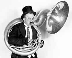 Oldest tuba player ever.